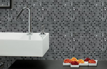tile shower black and white square soligo laval blainville rosemere montreal