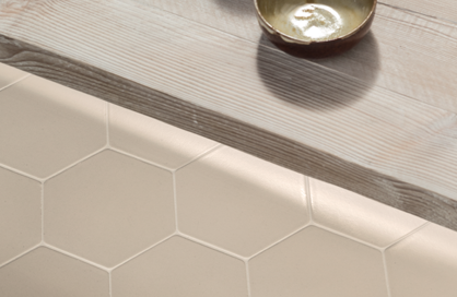 céramique laurentides hexagonale beige cuisine