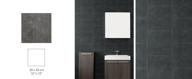 tile shower grey with brown cabinet soligo laval blainville rosemere montreal