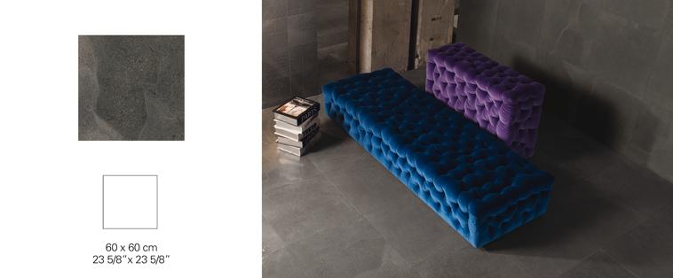 Ceramique grand format 24x24 plancher noir morenero Rive-Nord