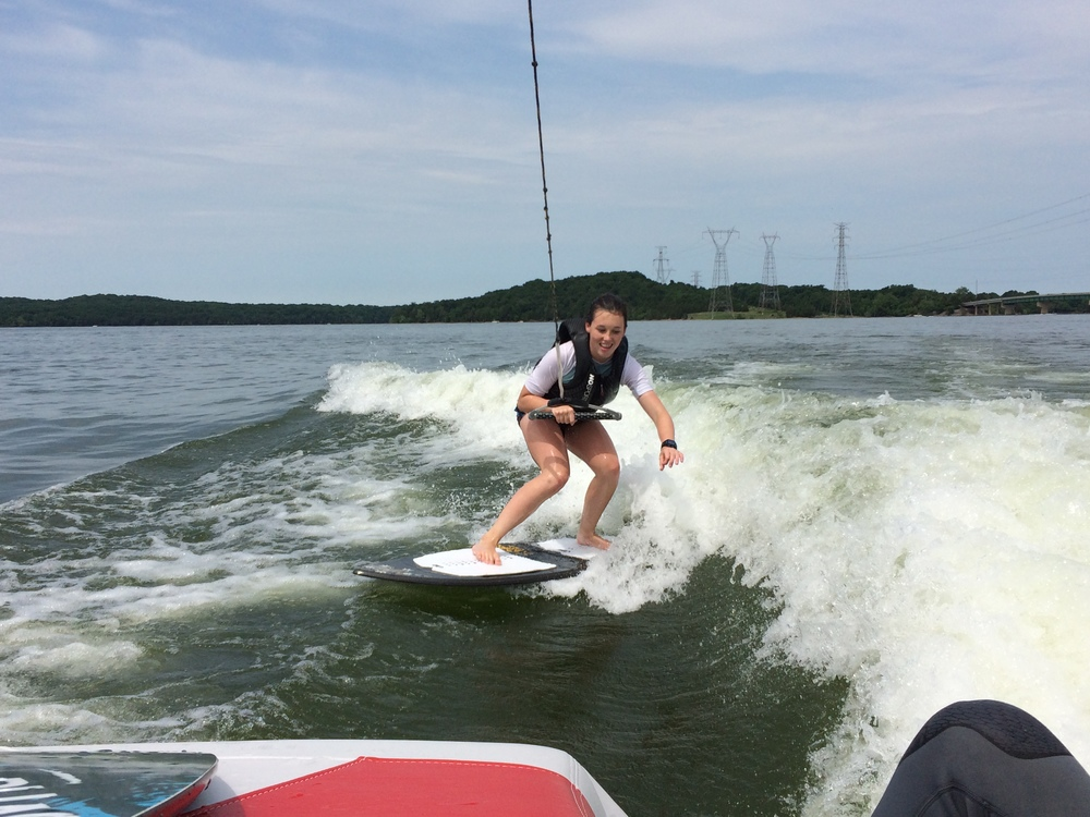 Getting the hang of wake surfing at our local lake in Tennessee--so fun!!