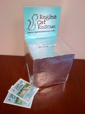 Regina Cat Rescue loaned a donation box to one couple who wanted to encourage their wedding guests to donate throughout the event.