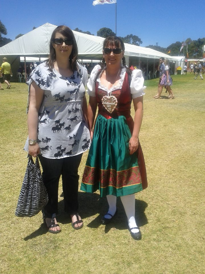 Club Members - Ilona and Maryanne, enjoying our Jan 11 meet-up at The Schutzenfest in Adelaide.. (Checkout Ilona's costume - How's that for authenticity!)