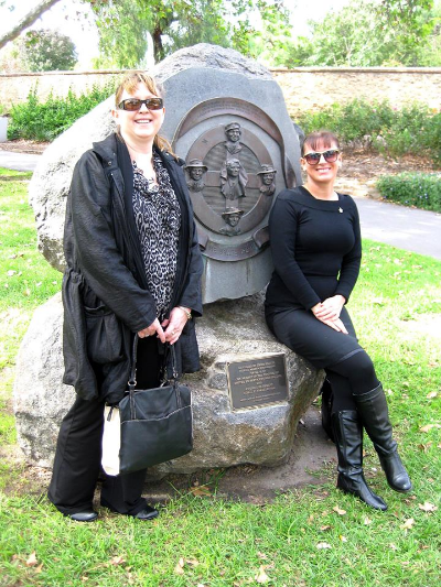 April 23 - ANZAC Day meet-up with members - Cherie and Ilona at the memorial for women during times of war.