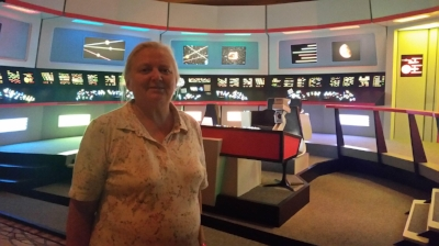 Mawson crewmember - Edna pictured next to the 1960s Bridge of the Enterprise at the 50th Anniversary of Star Trek Convention in Las Vegas - August 2016!