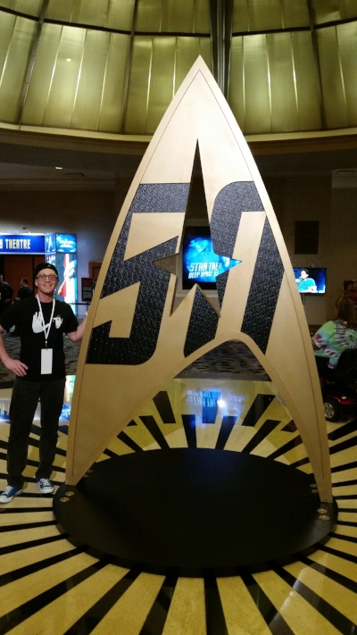 Starship Mawson Event Director - Stu Blair next to the 50th anniversary logo inside the atrium of the 50th Anniversary of Star Trek Convention in Las Vegas - August 2016. Our global tour would also include a trip to the Grand Canyon then off to London for the Harry Potter and Star Trek exhibition and then to Europe for a tour of the Tintin Museum in Belgium and the International Comic Book Museum in Belgium!