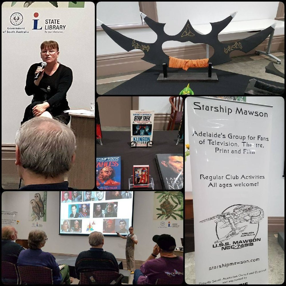 October 15: We were booked by The State Library of South Australia to conduct a series of linguistic workshops specifically on artistically constructed language engineered for TV and Film. The Klingon language was presented by Linguist, Stuart Blair,  and Vulcan presented by Ilona Solinska.