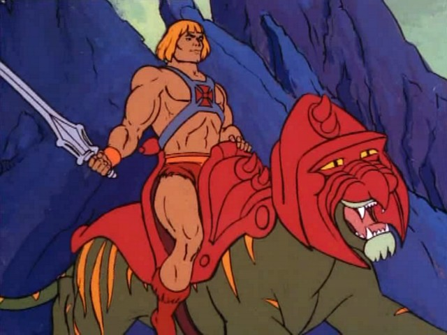 who knew that he-man would turn out to look like andy dick but with muscles & a killer battle-cat ride.