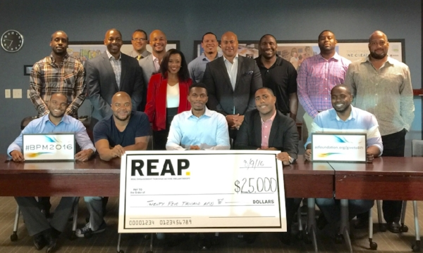 Men of of REAP Giving Circle in Phoenix, with Kim Covington of the Black Philanthropy Initiative of Arizona Community Foundation