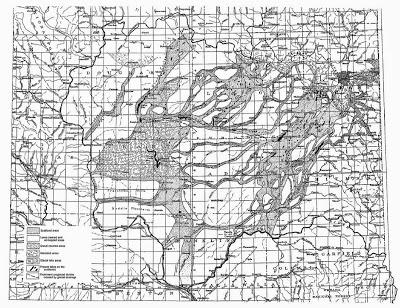 Bretz's 1927 map of the Channeled Scablands