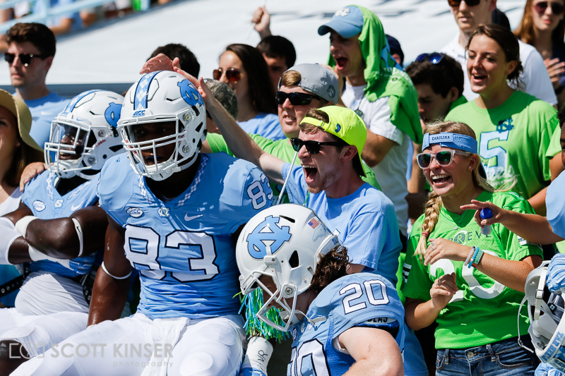September 19, 2015: Caleb Samuel (83) of the North Carolina Tar Heels gets fans hyped before the NCAA football matchup between the Fighting Illini of Illinois and the North Carolina Tarheels at Kenan Memorial Stadium in Chapel Hill, NC. Scott Kinser/CSM