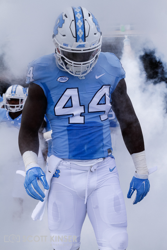 September 19, 2015: Junior Gnonkonde (44) of the North Carolina Tar Heels making his way on to the field for the NCAA football matchup between the Fighting Illini of Illinois and the North Carolina Tarheels at Kenan Memorial Stadium in Chapel Hill, NC. Scott Kinser/CSM