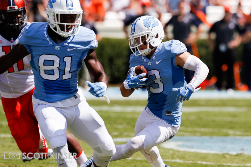 September 19, 2015: Ryan Switzer (3) of the North Carolina Tar Heels cuts back up field in the NCAA football matchup between the Fighting Illini of Illinois and the North Carolina Tarheels at Kenan Memorial Stadium in Chapel Hill, NC. Scott Kinser/CSM
