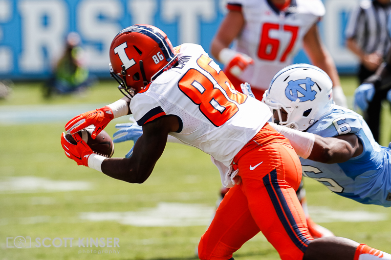September 19, 2015: M.J. Stewart (6) of the North Carolina Tar Heels gets just enough to breakup the pass to Desmond Cain (86) of the Illinois Fighting Illini in the NCAA football matchup between the Fighting Illini of Illinois and the North Carolina Tarheels at Kenan Memorial Stadium in Chapel Hill, NC. Scott Kinser/CSM