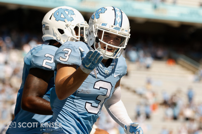 September 19, 2015: Ryan Switzer (3) of the North Carolina Tar Heels celebrates his 85 yard punt return touchdown in the NCAA football matchup between the Fighting Illini of Illinois and the North Carolina Tarheels at Kenan Memorial Stadium in Chapel Hill, NC. Scott Kinser/CSM