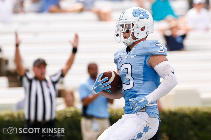 September 19, 2015: Ryan Switzer (3) of the North Carolina Tar Heels walks in for a touchdown off the 34 yard pass in the NCAA football matchup between the Fighting Illini of Illinois and the North Carolina Tarheels at Kenan Memorial Stadium in Chapel Hill, NC. Scott Kinser/CSM