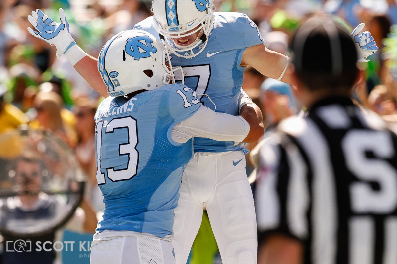 September 19, 2015: Austin Proehl (7) of the North Carolina Tar Heels celebrates his 3 yd touchdown catch in the fourth quarter of the NCAA football matchup between the Fighting Illini of Illinois and the North Carolina Tarheels at Kenan Memorial Stadium in Chapel Hill, NC. Scott Kinser/CSM