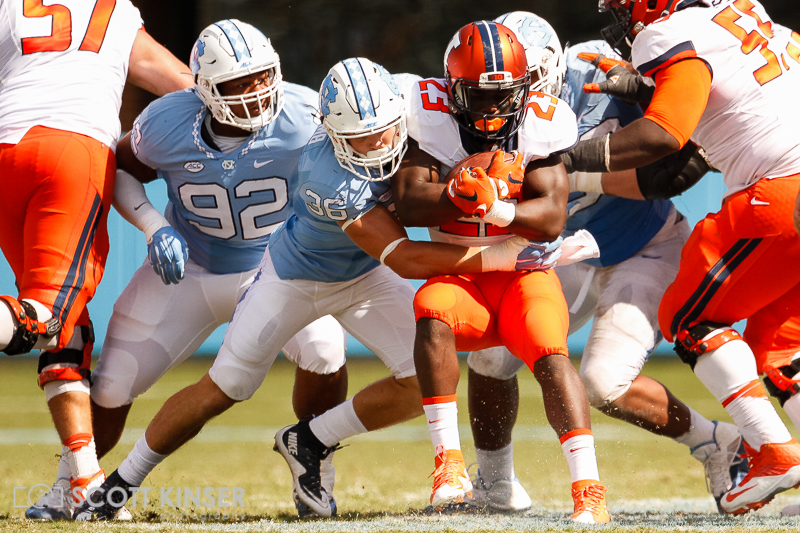 September 19, 2015: Henry Enyenihi (23) of the Illinois Fighting Illini gets stood up by Cole Holcomb (36) of the North Carolina Tar Heels in the NCAA football matchup between the Fighting Illini of Illinois and the North Carolina Tarheels at Kenan Memorial Stadium in Chapel Hill, NC. Scott Kinser/CSM