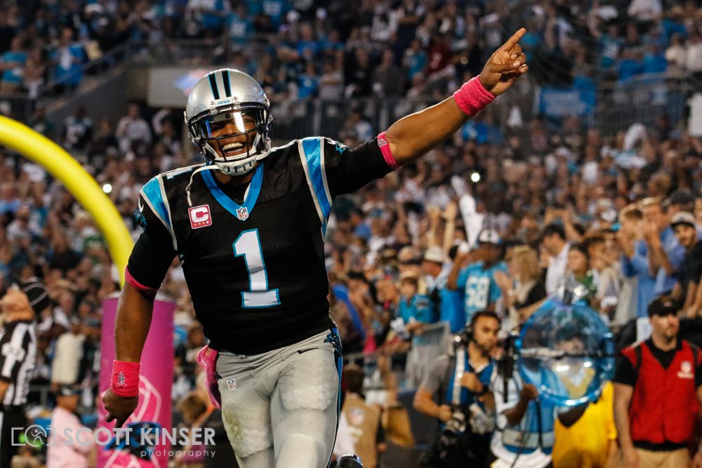 October 25, 2015: quarterback Cam Newton (1) of the Carolina Panthers celebrates making carolina's second touchdown of the game during the Sunday Night Football matchup between the Philadelphia Eagles and the Carolina Panthers at Bank of America Stadium in Charlotte, NC. Scott Kinser/CSM