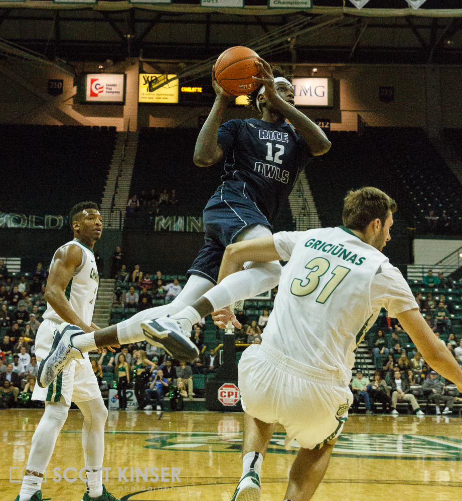 February 11, 2016: Rice Owls forward Marquez Letcher-Ellis (12) gets tied up with Charlotte 49ers center Benas Griciunas (31) and draws the foul in the NCAA Basketball match-up between the Rice Owls and the UNC Charlotte 49er's at Holton Arena in Charlotte, NC. Scott Kinser/CSM