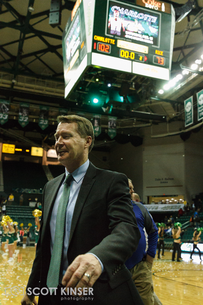 February 11, 2016: Charlotte 49ers head coach Mark Price is all smiles as his team puts up 102 points in the NCAA Basketball match-up between the Rice Owls and the UNC Charlotte 49er's at Holton Arena in Charlotte, NC. Scott Kinser/CSM