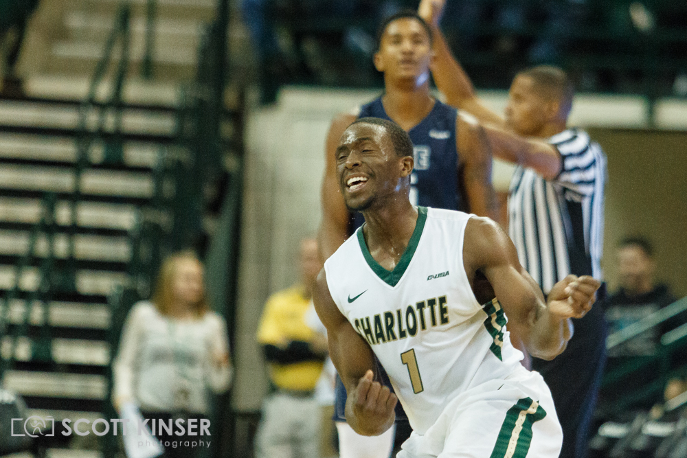 February 11, 2016: Charlotte 49ers guard Braxton Ogbueze (1) celebrates another big three in the NCAA Basketball match-up between the Rice Owls and the UNC Charlotte 49er's at Holton Arena in Charlotte, NC. Scott Kinser/CSM