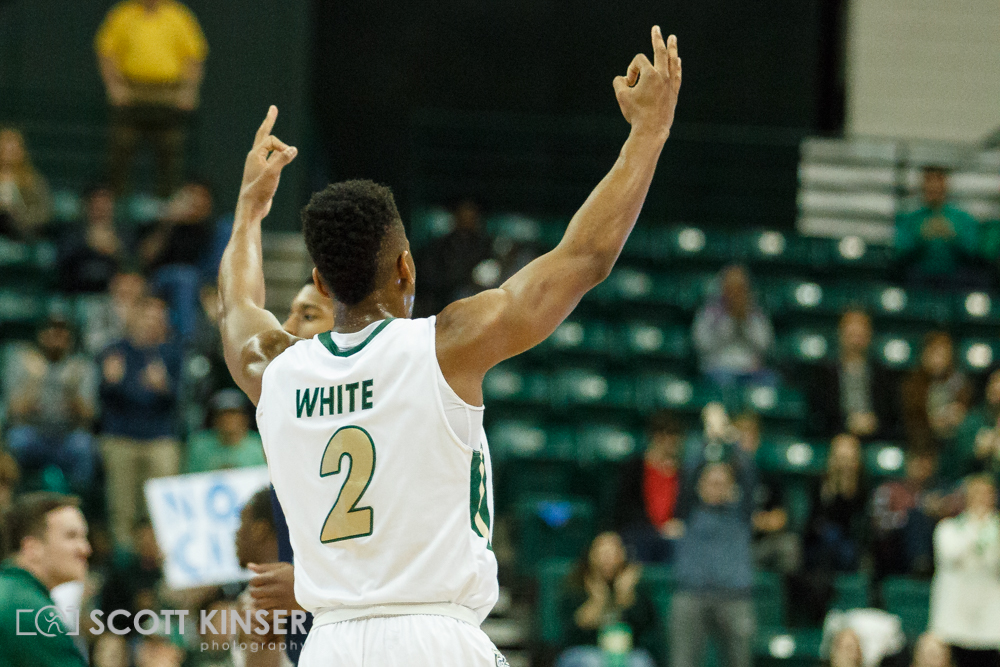 February 11, 2016: Charlotte 49ers guard Andrien White (2) celebrates as the Niner's go up 20 points in the NCAA Basketball match-up between the Rice Owls and the UNC Charlotte 49er's at Holton Arena in Charlotte, NC. Scott Kinser/CSM