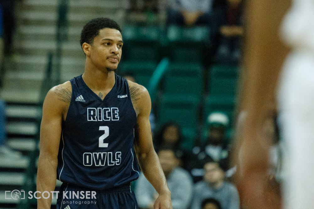 February 11, 2016: Rice Owls guard Marcus Evans (2) cannot believe it as his team falls behind in the NCAA Basketball match-up between the Rice Owls and the UNC Charlotte 49er's at Holton Arena in Charlotte, NC. Scott Kinser/CSM