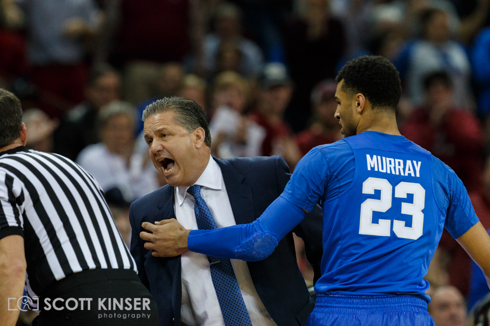 February 13, 2016: Kentucky Wildcats head coach John Calipari lays into ref after first technical then gets thrown out of the NCAA Basketball match-up between the Kentucky Wildcats and the South Carolina Gamecocks at Colonial Life Arena in Columbia, SC. Scott Kinser/CSM