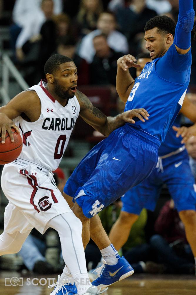 February 13, 2016: South Carolina Gamecocks guard Sindarius Thornwell (0) gets the charge on Kentucky Wildcats guard Isaiah Briscoe (13) in the NCAA Basketball match-up between the Kentucky Wildcats and the South Carolina Gamecocks at Colonial Life Arena in Columbia, SC. Scott Kinser/CSM