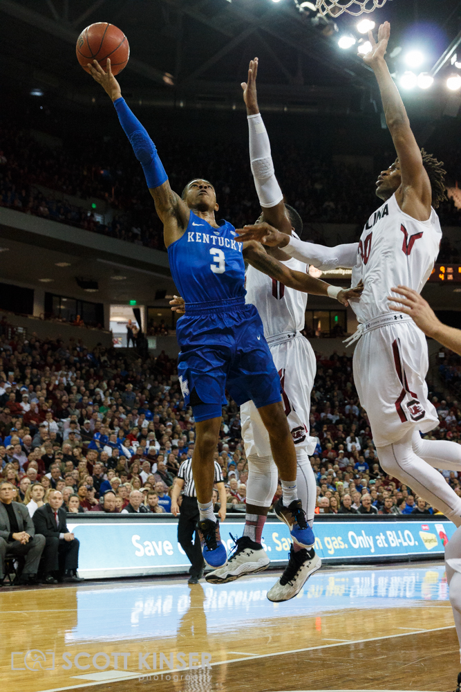 February 13, 2016: Kentucky Wildcats guard Tyler Ulis (3) floats up and easy layup past forward Chris Silva (30) and South Carolina Gamecocks guard Duane Notice (10) in the NCAA Basketball match-up between the Kentucky Wildcats and the South Carolina Gamecocks at Colonial Life Arena in Columbia, SC. Scott Kinser/CSM
