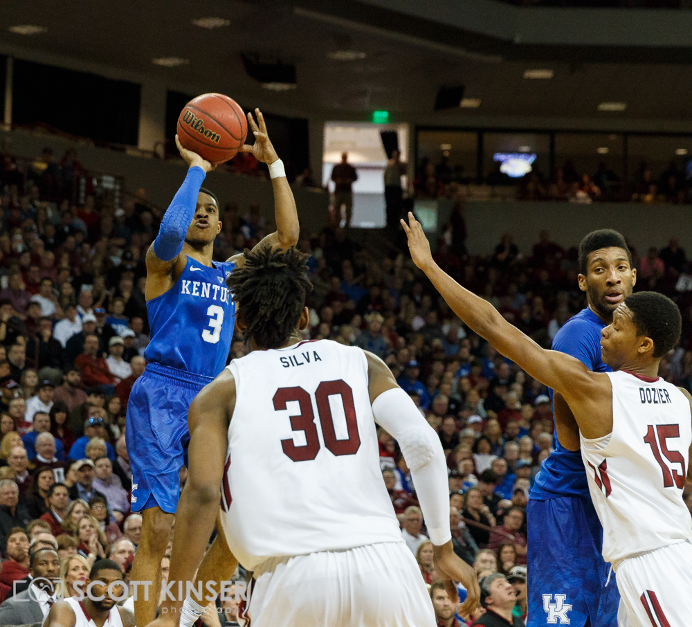 February 13, 2016: Kentucky Wildcats guard Tyler Ulis (3) drains a three in the NCAA Basketball match-up between the Kentucky Wildcats and the South Carolina Gamecocks at Colonial Life Arena in Columbia, SC. Scott Kinser/CSM