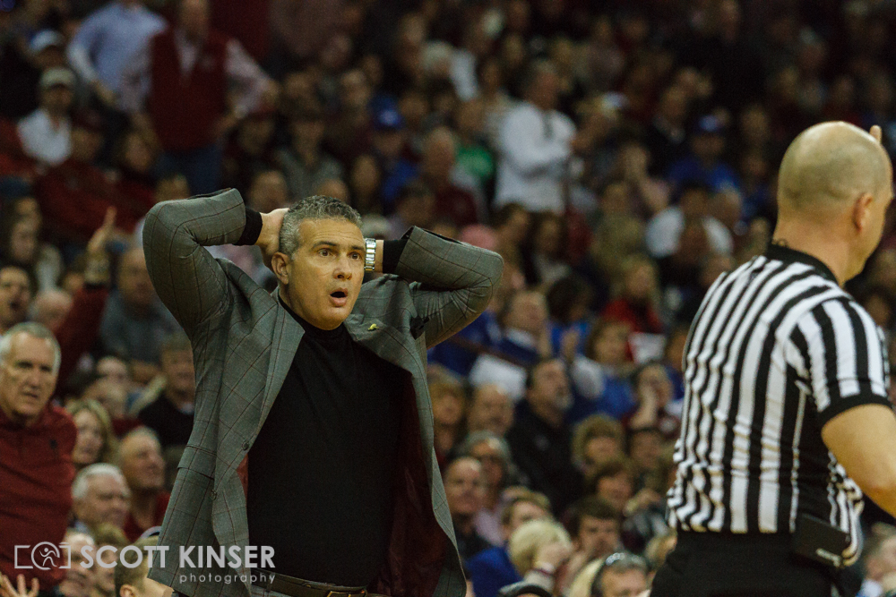 February 13, 2016: South Carolina Gamecocks head coach Frank Martin cannot believe the call in the NCAA Basketball match-up between the Kentucky Wildcats and the South Carolina Gamecocks at Colonial Life Arena in Columbia, SC. Scott Kinser/CSM