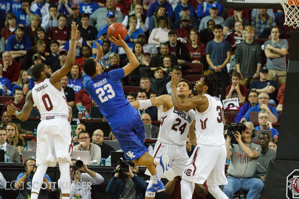 February 13, 2016: Kentucky Wildcats guard Jamal Murray (23) drains a fall away jumper in the NCAA Basketball match-up between the Kentucky Wildcats and the South Carolina Gamecocks at Colonial Life Arena in Columbia, SC. Scott Kinser/CSM