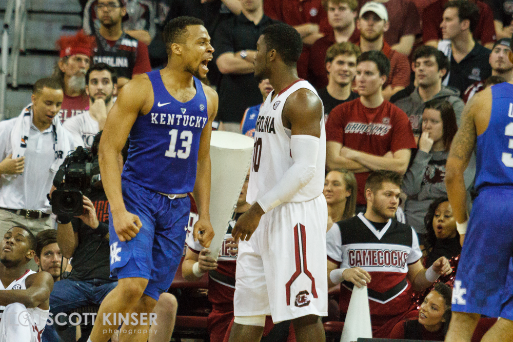 February 13, 2016: Kentucky Wildcats guard Isaiah Briscoe (13) celebrates after South Carolina Gamecocks forward Eric Cobb (23) (not pictured) gets a big dunk in the NCAA Basketball match-up between the Kentucky Wildcats and the South Carolina Gamecocks at Colonial Life Arena in Columbia, SC. Scott Kinser/CSM