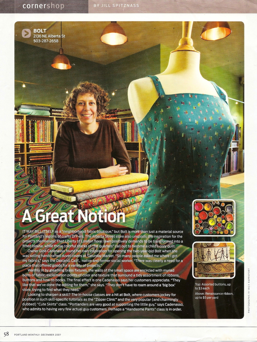 A Great Notion - Portland Monthly, Bolt Fabric Boutique