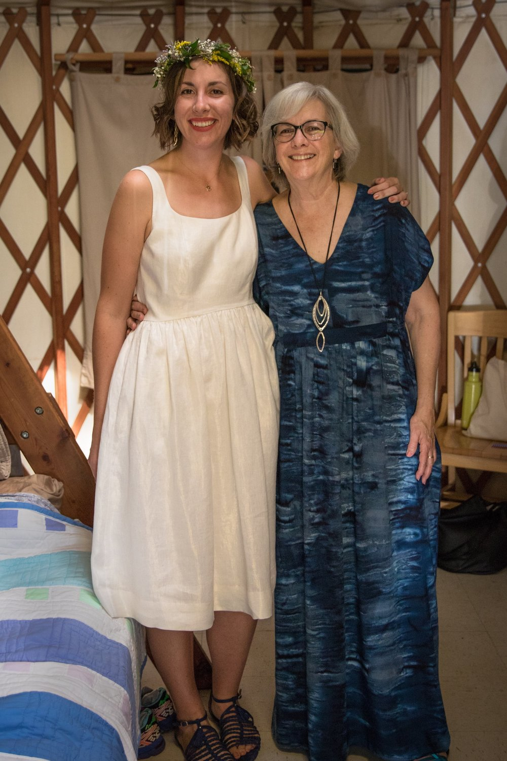 Me freshly zipped in my golden dress and my mom in her handmade rayon Closet Case Charlie Caftan!
