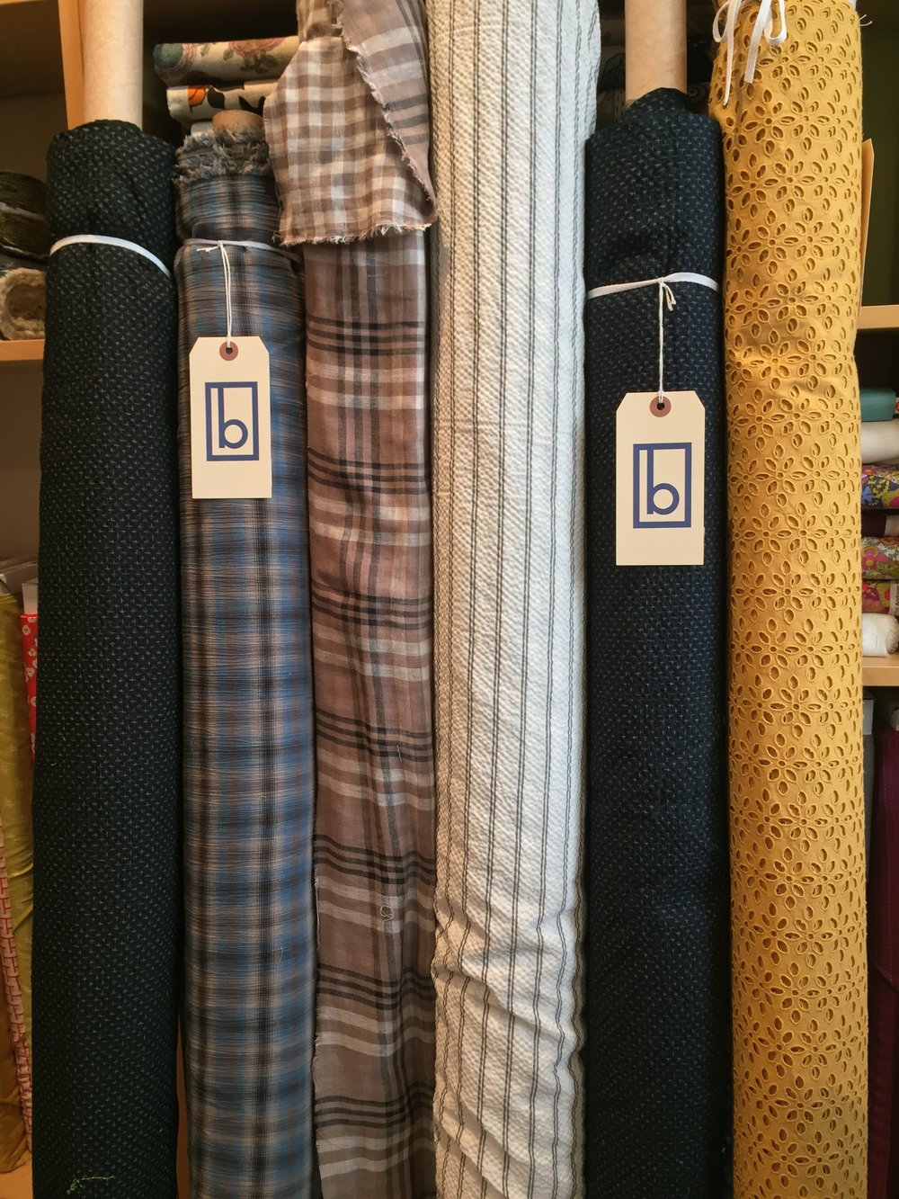 Loads of texture in this group: plisse, crinkle plaid, double sided gauze plaid, mustard color cotton eyelet.