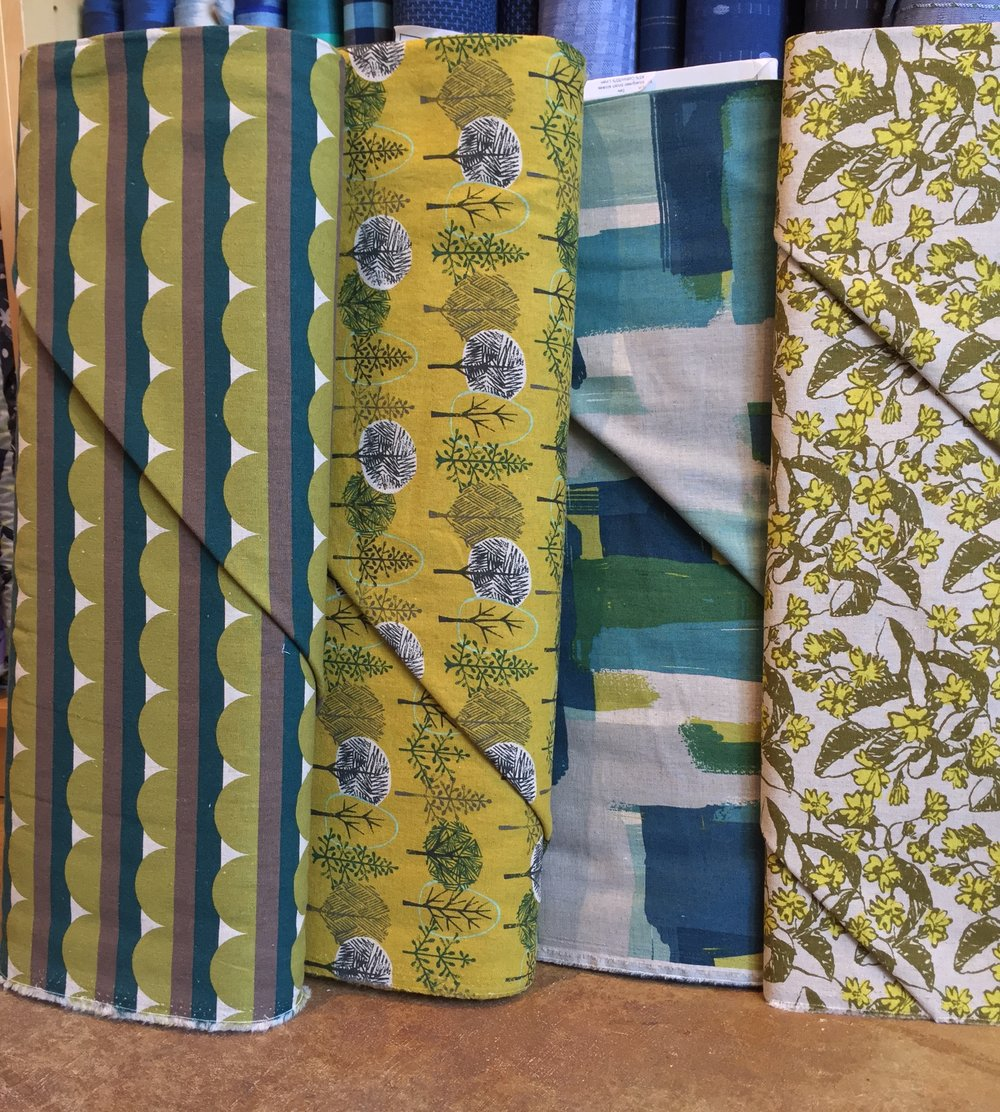 midweight cotton linen blends in a cool green blue yellow palette.