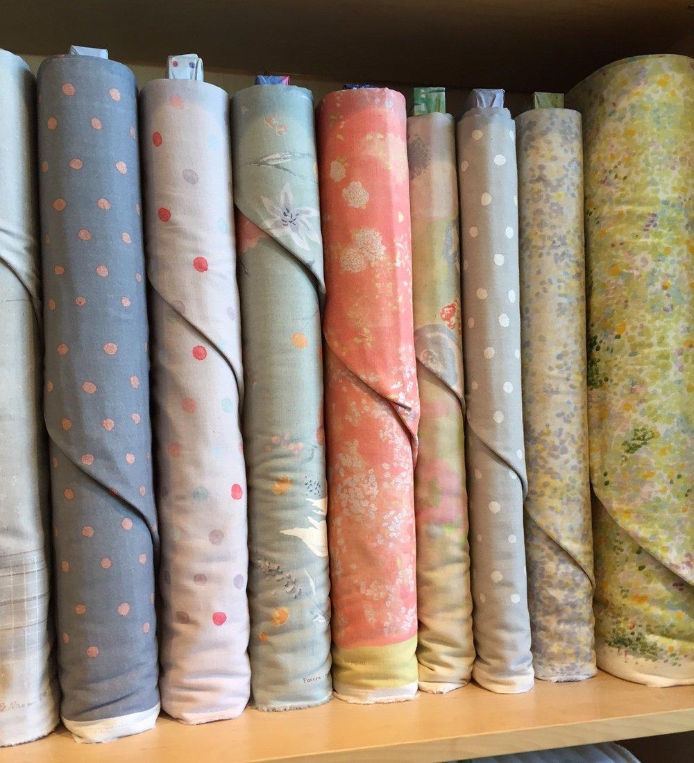 Nani Iro pinks, greys, and lots of dots.