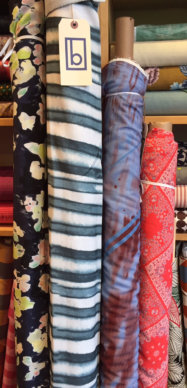 A striking silk floral on the left and three intriguing rayons on the right.