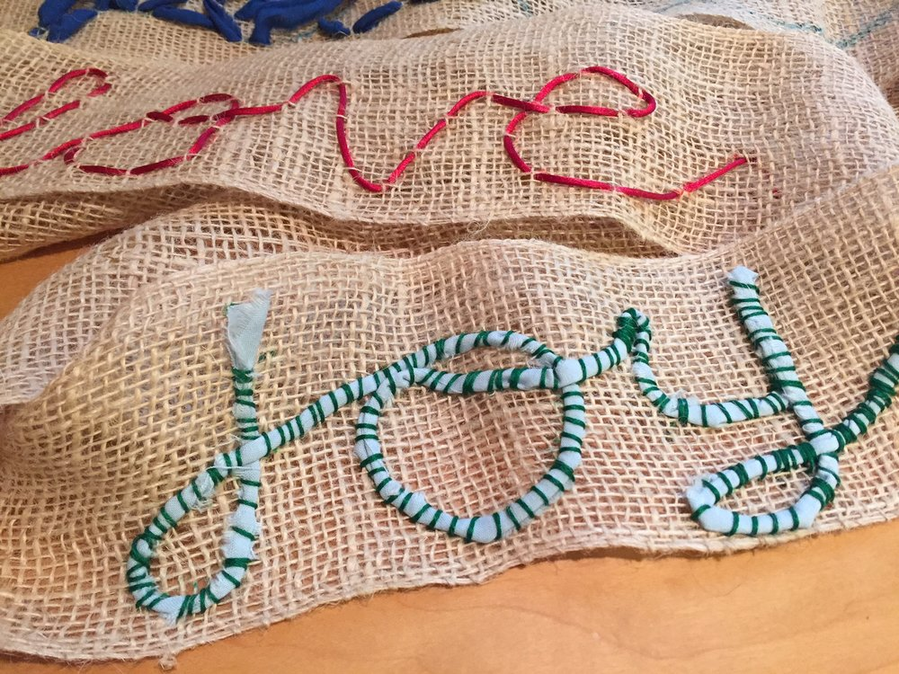 Gina's  Stitched Burlap Banner