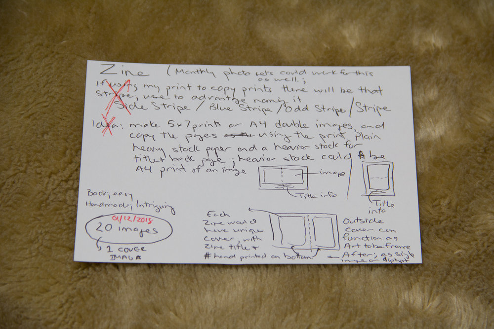 Index cards are a quick and easy place to jot down ideas and some layout doodles