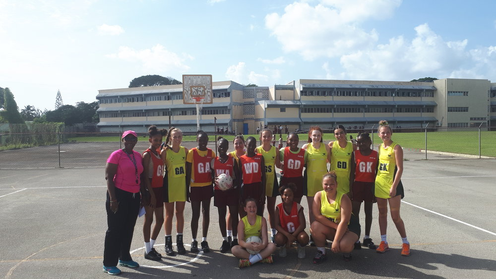 Our girls with the head coach of the Barbados national team squad that will compete at the Commonwealth Games on the Gold Coast !