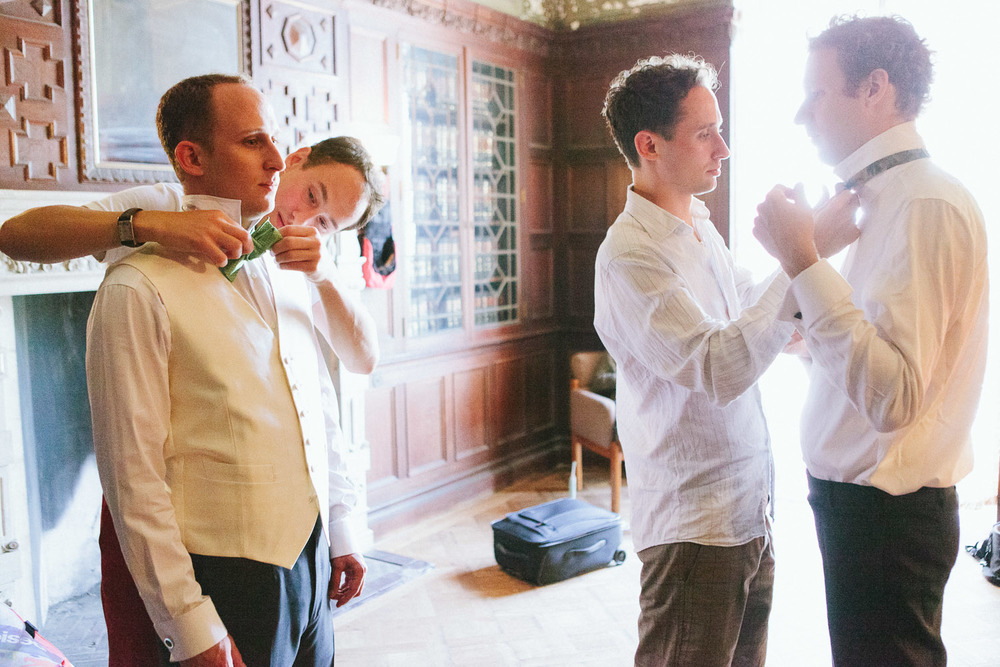 The men get ready for a wedding at Alder Manor in Yonkers, NY.