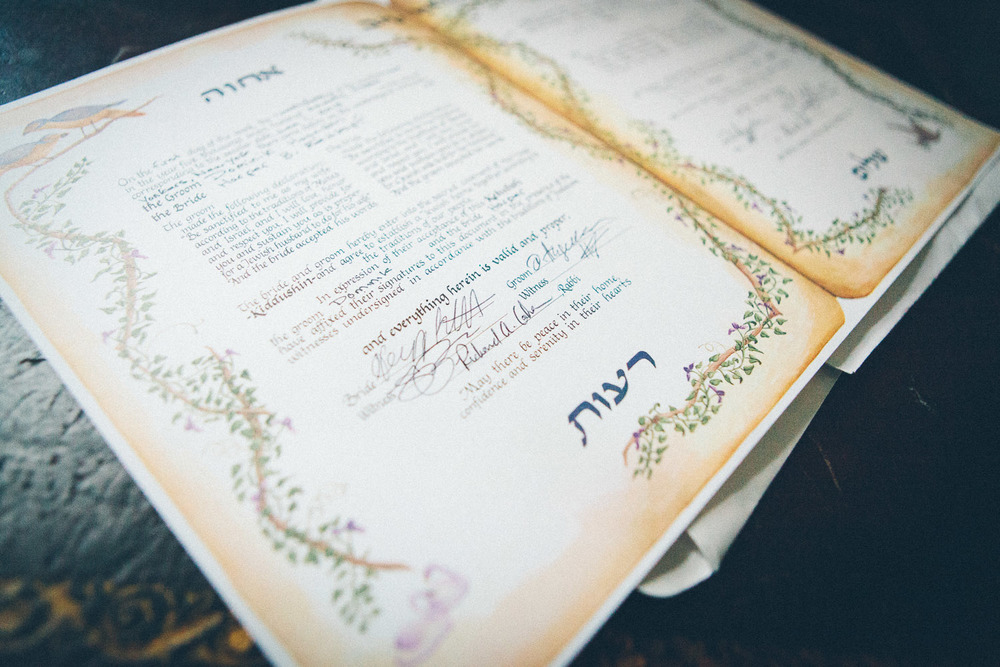 Ketubah photo. Jewish wedding photographer in New York.