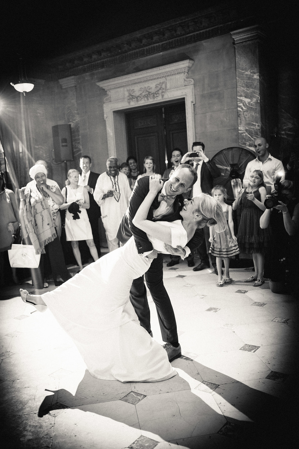 Nailed it! The groom dips the bride at the end of their first dance at Alder Manor in Yonkers, NY.