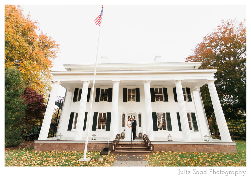 The Burr Homestead in Fairfield Connecticut is a romantic and historic location for a wedding.