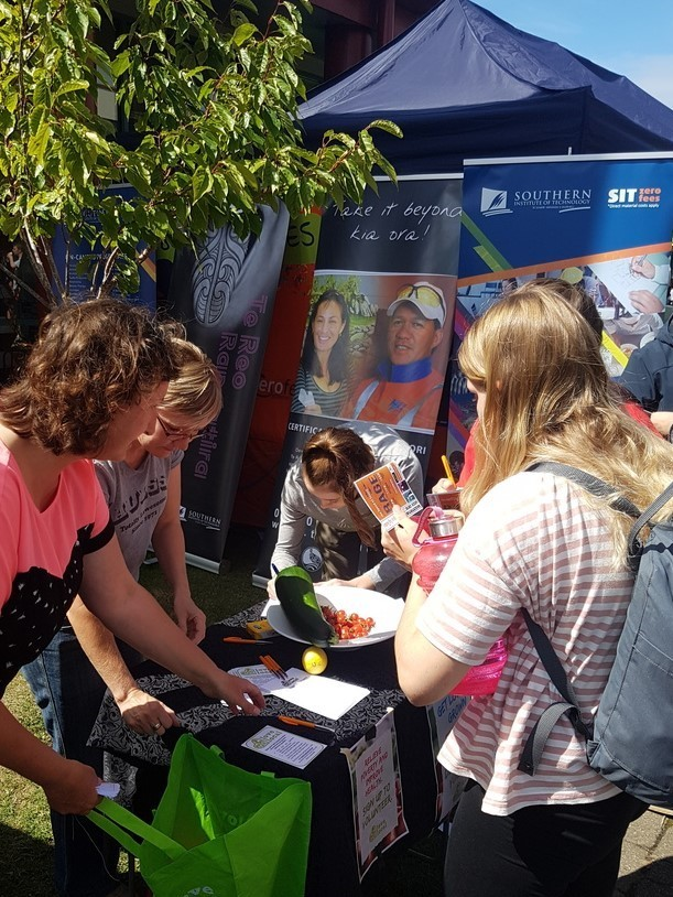 Students signing up for their Love Local fruit and vege bags at SIT O-Week.