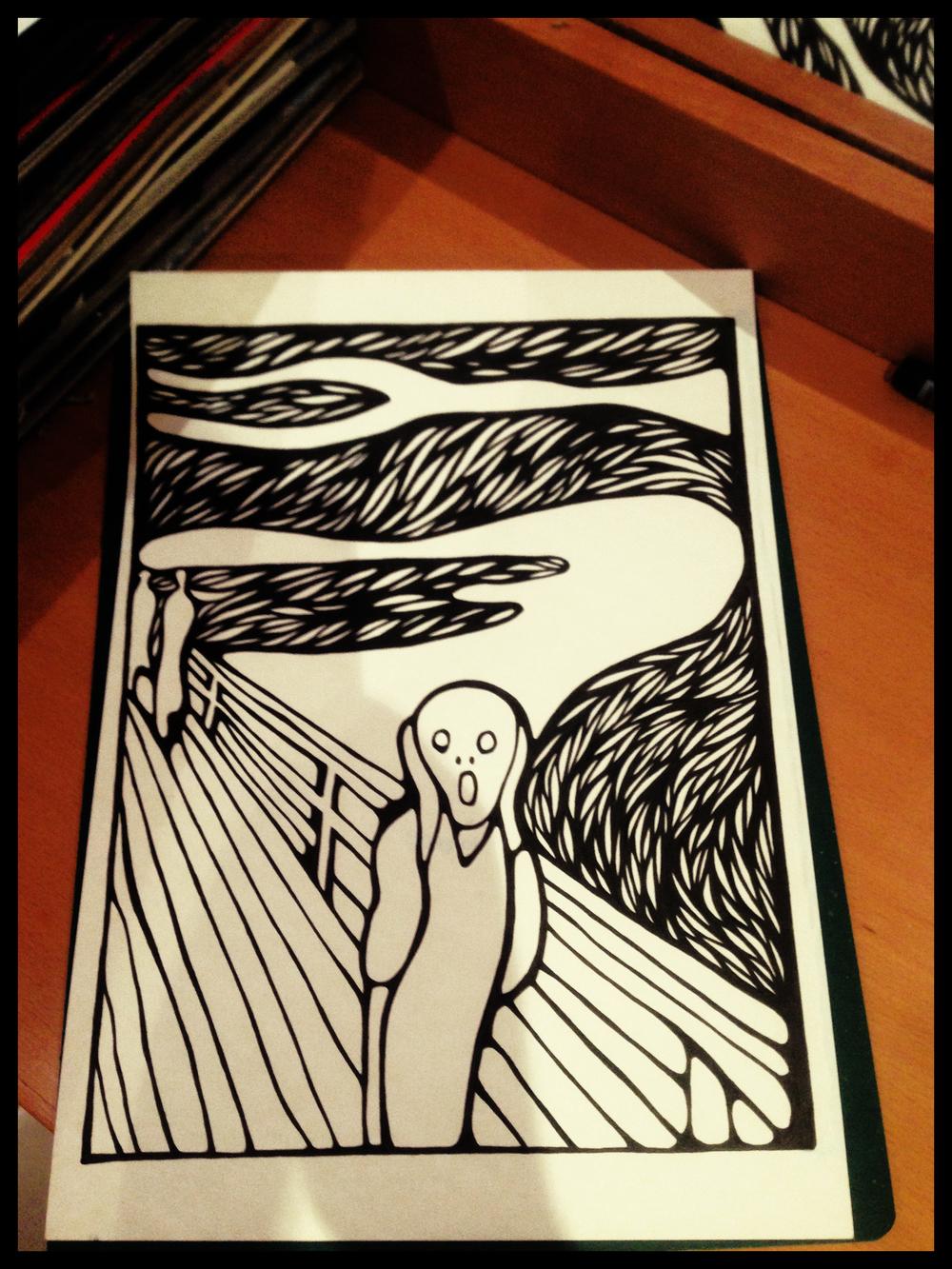 Edward Munch he Scream in progress